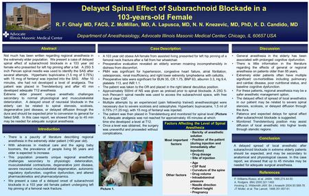 Delayed Spinal Effect of Subarachnoid Blockade in a 103-years-old Female R. F. Ghaly MD, FACS, Z. McMillan, MD, A. Lapusca, MD, N. N. Knezevic, MD, PhD,