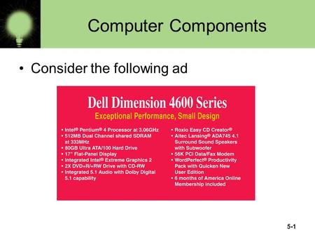 5-1 Computer Components Consider the following ad.
