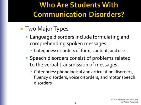© 2010 Pearson Education, Inc. All Rights Reserved. 1  Two Major Types  Language disorders include formulating and comprehending spoken messages. ▪ Categories: