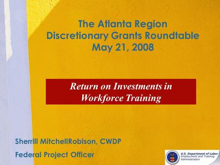 The Atlanta Region Discretionary Grants Roundtable May 21, 2008 Return on Investments in Workforce Training Sherrill MitchellRobison, CWDP Federal Project.