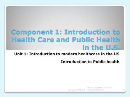 Component 1: Introduction to Health Care and Public Health in the U.S. Unit 1: Introduction to modern healthcare in the US Introduction to Public health.