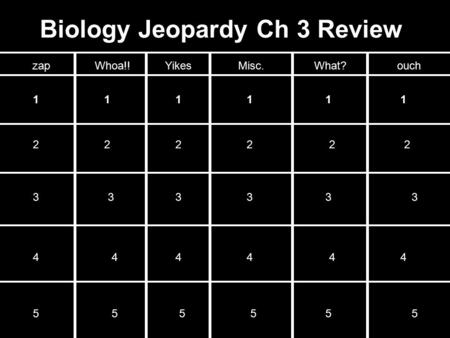 Biology Jeopardy Ch 3 Review zapWhoa!!YikesMisc.What?ouch 111111 222222 333333 444444 555555.