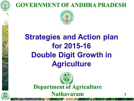 GOVERNMENT OF ANDHRA PRADESH 1 Department of Agriculture Nathavaram Strategies and Action plan for 2015-16 Double Digit Growth in Agriculture.
