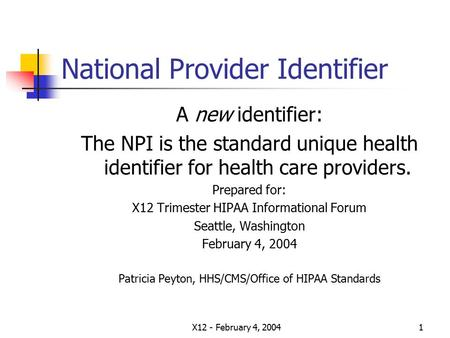 X12 - February 4, 20041 National Provider Identifier A new identifier: The NPI is the standard unique health identifier for health care providers. Prepared.