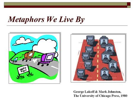 Metaphors We Live By George Lakoff & Mark Johnston, The University of Chicago Press, 1980.