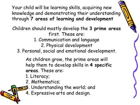 Children should mostly develop the 3 prime areas first. These are: 1. Communication and language 2. Physical development 3. Personal, social and emotional.
