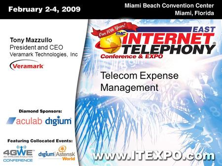 Tony Mazzullo President and CEO Veramark Technologies, Inc Telecom Expense Management.