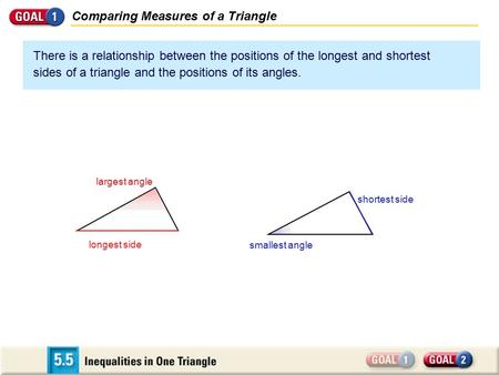Comparing Measures of a Triangle There is a relationship between the positions of the longest and shortest sides of a triangle and the positions of its.