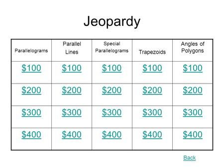 Back Jeopardy Parallelograms Parallel Lines Special Parallelograms Trapezoids Angles of Polygons $100 $200 $300 $400.