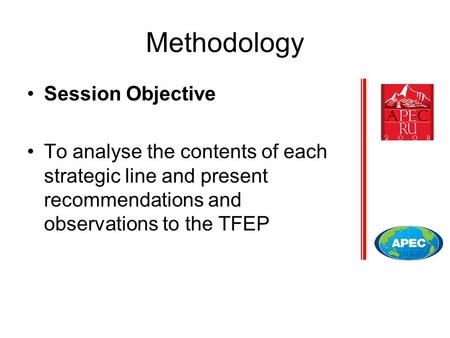 Methodology Session Objective To analyse the contents of each strategic line and present recommendations and observations to the TFEP.