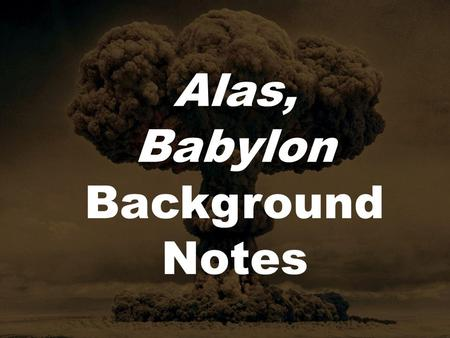 SparkNotes: Alas, Babylon: Review Questions