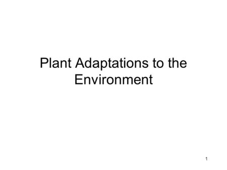Plant Adaptations to the Environment
