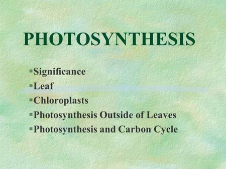 PHOTOSYNTHESIS §Significance §Leaf §Chloroplasts §Photosynthesis Outside of Leaves §Photosynthesis and Carbon Cycle.