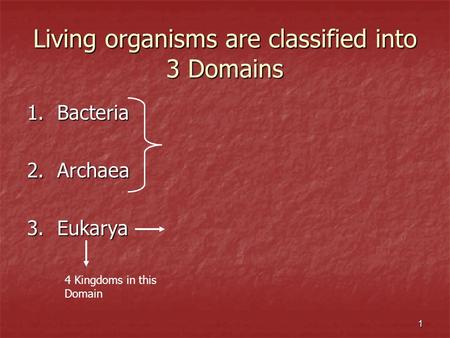 Living organisms are classified into 3 Domains 1.Bacteria 2.Archaea 3.Eukarya 4 Kingdoms in this Domain 1.