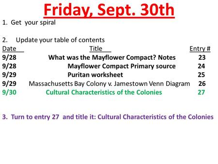 Friday, Sept. 30th 1. Get your spiral 2. Update your table of contents DateTitle Entry # 9/28 What was the Mayflower Compact? Notes23 9/28Mayflower Compact.