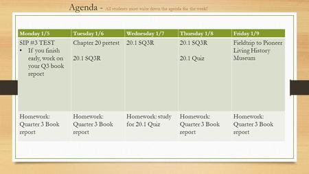 Agenda - All students must write down the agenda for the week!! Monday 1/5Tuesday 1/6Wednesday 1/7Thursday 1/8Friday 1/9 SIP #3 TEST If you finish early,
