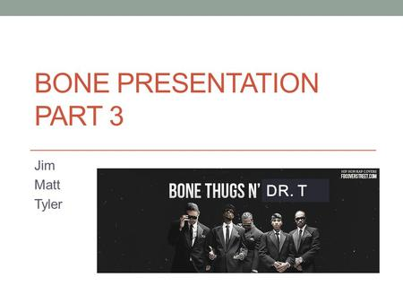 BONE PRESENTATION PART 3 Jim Matt Tyler DR. T. Importance of Bone Bones are not static, which means they are constantly changing shape and composition.