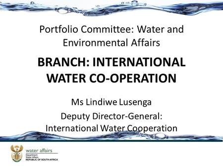 BRANCH: INTERNATIONAL WATER CO-OPERATION Ms Lindiwe Lusenga Deputy Director-General: International Water Cooperation Portfolio Committee: Water and Environmental.