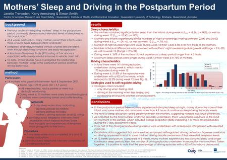 Conclusions results background method Participants In the postpartum period these mothers experienced disrupted sleep at night, mainly due to the care.
