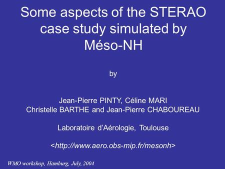 WMO workshop, Hamburg, July, 2004 Some aspects of the STERAO case study simulated by Méso-NH by Jean-Pierre PINTY, Céline MARI Christelle BARTHE and Jean-Pierre.
