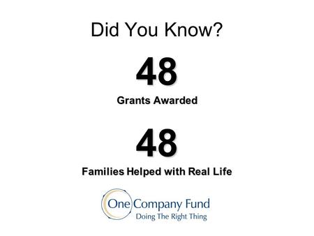 Did You Know? 48 Grants Awarded 48 Families Helped with Real Life.