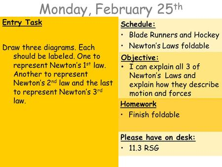 Monday, February 25 th Entry Task Draw three diagrams. Each should be labeled. One to represent Newton's 1 st law. Another to represent Newton's 2 nd law.