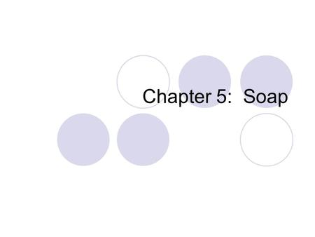 Chapter 5: Soap. Introductory Activity Fill a test tube with an inch of water Add a squirt of cooking oil to the test tube. Observe Stopper, shake & observe.