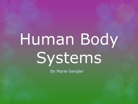 Human Body Systems By Marie Gengler. Table of Contents  Nervous System  Muscular System  Skeletal System.