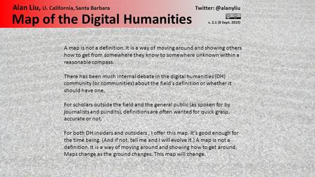 Map of the Digital Humanities v. 2.1 (8 Sept. 2015) Alan Liu, U. California, Santa Barbara A map is not a definition. It is a way of.