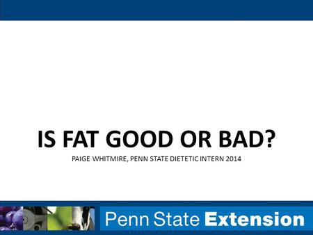 IS FAT GOOD OR BAD? PAIGE WHITMIRE, PENN STATE DIETETIC INTERN 2014.