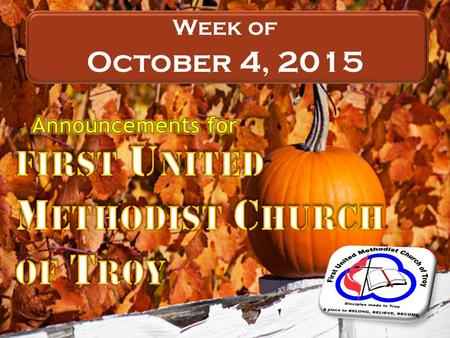 NEW Week of October 4, 2015. Led by George Berquist In the lower level of the CLC Sunday School today.
