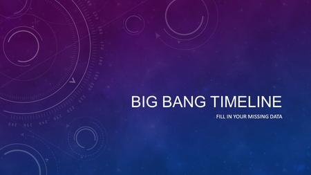 BIG BANG TIMELINE FILL IN YOUR MISSING DATA. THE BIG BANG 0 to 10 -43 seconds Temperature- theorized to be infinite Infinitely small, Infinitely Dense,