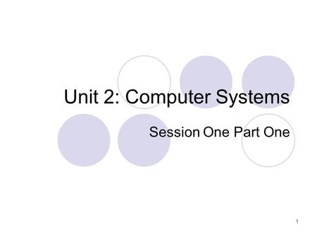 1 Unit 2: Computer Systems Session One Part One. 2 Aims: Discussion into what will be covered in this unit. Assessment Understand the basic principles.