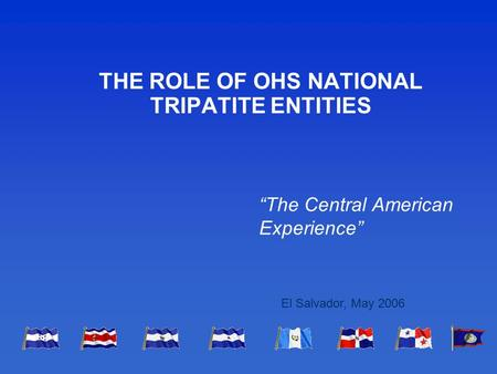 "THE ROLE OF OHS NATIONAL TRIPATITE ENTITIES ""The Central American Experience"" El Salvador, May 2006."