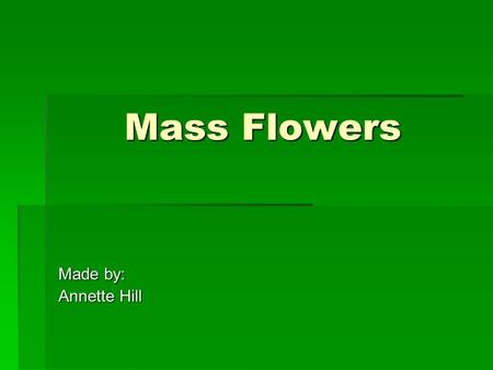 Mass Flowers Made by: Annette Hill. Mass Flowers  Composed of a single stem having one solid, rounded head at the top  Used to create focus  Are very.