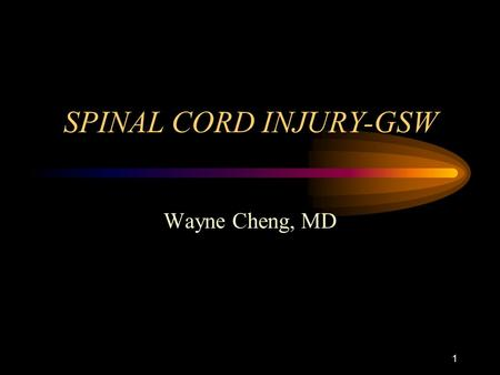 1 SPINAL CORD INJURY-GSW Wayne Cheng, MD. 2 EPIDEMIOLOGY-mechanism Most common cause of traumatic cord inj.: –#1 MVA (45%) –#2 Fall (22%) –#3Violence(16%)