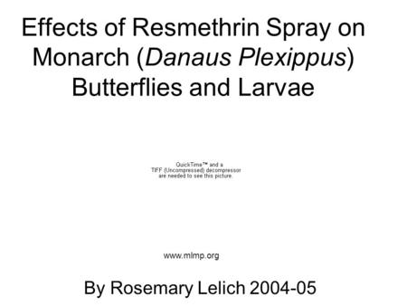 Effects of Resmethrin Spray on Monarch (Danaus Plexippus) Butterflies and Larvae By Rosemary Lelich 2004-05 www.mlmp.org.
