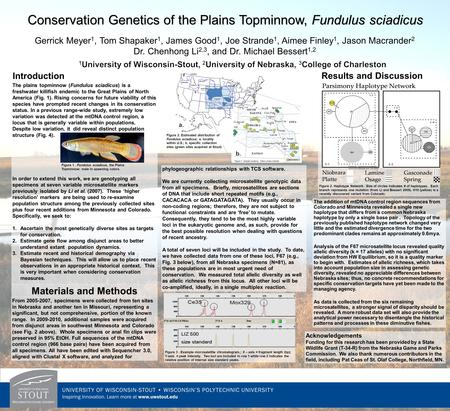 Conservation Genetics of the Plains Topminnow, Fundulus sciadicus The plains topminnow (Fundulus sciadicus) is a freshwater killifish endemic to the Great.