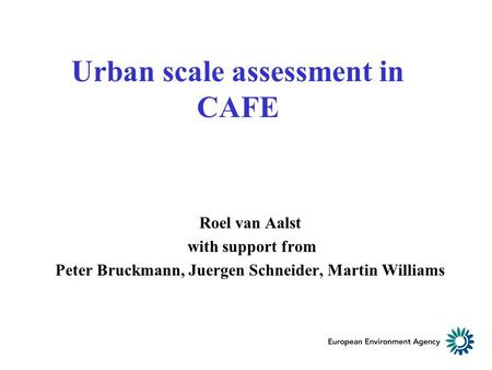 Urban scale assessment in CAFE Roel van Aalst with support from Peter Bruckmann, Juergen Schneider, Martin Williams.