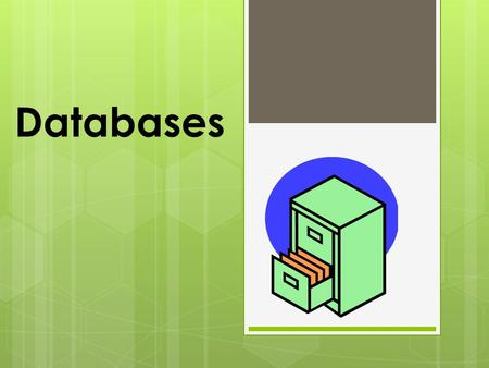 Databases. What is a database?  A database is used to store data. The word DATA is actually Latin for FACTS. A database is, therefore, a place, or thing.