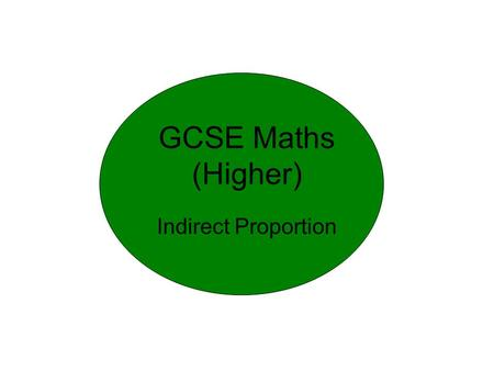 GCSE Maths (Higher) Indirect Proportion. Types of proportion Time (min) mph 90 60 ? 70 MoreLess MoreLess ?5 MoreLess MoreLess 508 Direct Proportion percentage.