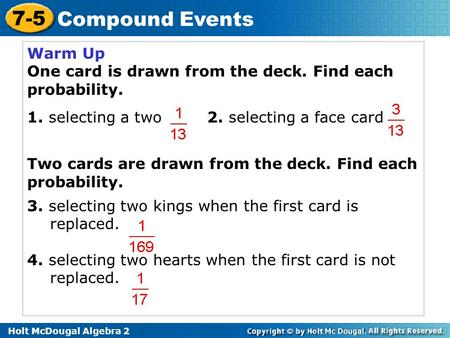 Warm Up One card is drawn from the deck. Find each probability.