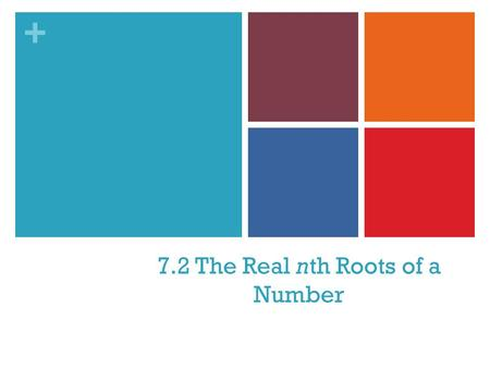 + 7.2 The Real nth Roots of a Number. + 1. How many values in the domain of f are paired with the value in the range? That is, how many x values satisfy.