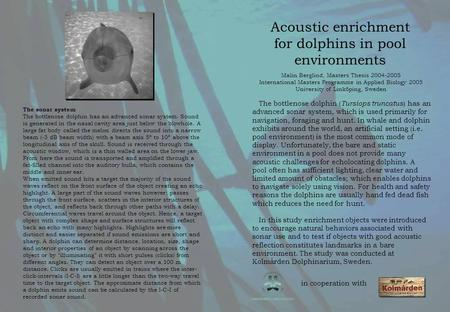 Acoustic enrichment for dolphins in pool environments Malin Berglind, Masters Thesis 2004-2005 International Masters Programme in Applied Biology 2005.