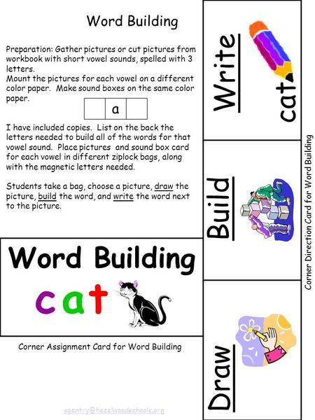 Draw cat Write Build Word Building Preparation: Gather pictures or cut pictures from workbook with short vowel sounds, spelled with 3 letters. Mount the.
