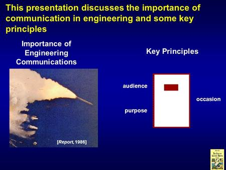 This presentation discusses the importance of communication in engineering and some key principles Importance of Engineering Communications Key Principles.