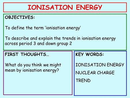 IONISATION ENERGY OBJECTIVES: To define the term 'ionisation energy' To describe and explain the trends in ionisation energy across period 3 and down group.