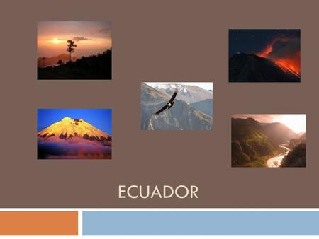ECUADOR. WHERE IS ECUADOR?  Ecuador is located in South America. Between Colombia and Peru. It has a long coastline along the Pacific Ocean.