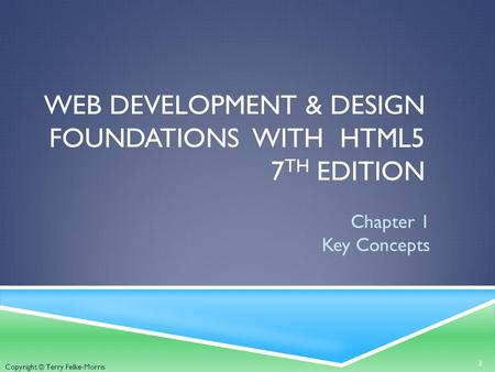Copyright © Terry Felke-Morris WEB DEVELOPMENT & DESIGN FOUNDATIONS WITH HTML5 7 TH EDITION Chapter 1 Key Concepts 1.