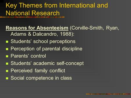 Key Themes from International and National Research Reasons for Absenteeism (Corville-Smith, Ryan, Adams & Dalicandro, 1988): Students' school perceptions.